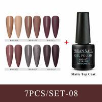 RBAN NAIL 7pcs Matte Top Coat Color Nail Gel Polish Soak Off UV Led Gel Varnish
