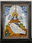 Vtg+RARE+Religious+Icon+Mary+Seven+Sword+Lady+Sorrows+Tile+Wall+Plaque+Sculpture