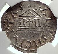 CAROLINGIAN France 840AD Silver Denier Coin of CHARLES II the BALD NGC i70023