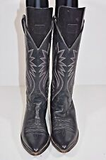 NOCONA WOMENS 6.5 B BLACK LEATHER ROPERS COWBOY WESTERN BOOTS