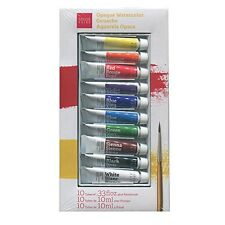 Savoir-Faire Opaque Watercolor Gouache Tube Set Of 10 In Case With Brush -NEW!!