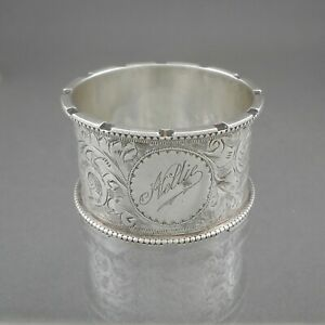 Antique Victorian Edwardian Era Napkin Ring Saunders & Shepherd Sterling Silver