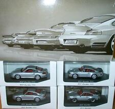 SCARCE MINICHAMPS PORSCHE 911 930 993 964 996 TURBO DEALER PROMO SET SILVER 1:43