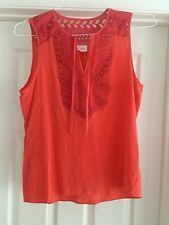 PARKER Coral Pink Orange Embroidered Silk Sleeveless Blouse Top Sz S