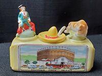 "Vintage Mexico Salt & Pepper Shakers Nodder Bull Matador Sombrero 5"" Complete"