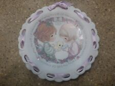 Enesco Precious Moments Girls/Kittens Mini Plate with easel 1992 247650 New