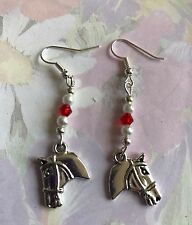 HORSE PONY drop Dangle Earrings Silver plated hook lovely present in gift bag