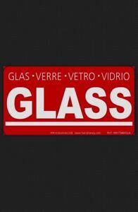20 GLASS Labels Stickers Fragile handle with care Verre Glas Vetro Vidrio RED