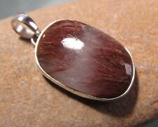 Sterling silver cabochon glossy rutilated quartz pendant. UK Seller.