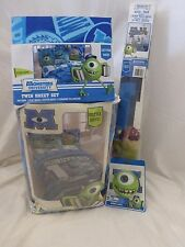 6 pc Monster University Twin Comforter, Sheets, Night Light & Wall Decal Set NIP