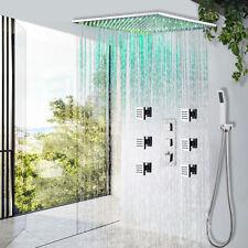 ChromeThermostatic Shower Faucet Set 20 inch LED Rain Massage Body Jet Sprayer