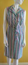 Vtg NOS NWT Sz 14 1/2 1970s NOS Candy Stripe DRESS Sleeveless NEW Medium? New