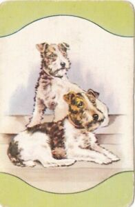 Coles Swap Card - Two Terriers with green border top and bottom