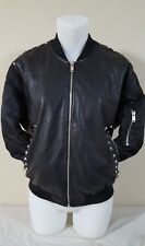 Zara Black Leather Look Bomber Punk Love Embroidered Jacket rhinestones Large