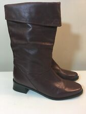 """Women's Markon """"Shelly"""" Brown Leather Foldover Chunk Heel Boots Size 7.5"""