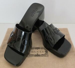 Gucci Black Rubber Sandals Slides From Resort Epilogue Collection 2021 Size 37