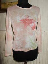 Tee shirt rose manche longue fleurs et top bretelles blanc BETTY BARCLAY 42F