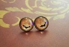 Blood moon bat Cabochon Stud Earrings,Halloween,Earring Post