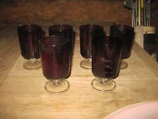 6 Small Ruby with Clear Bases Pedestal Glasses, Plain but Attractive, Gd.cond.