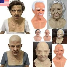 Latex Old Man Mask Male Realistic Disguise Costume Cosplay Halloween Party Props