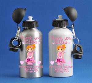 Kids Girls Bridesmaid Water Sports Bottle Silver Or White School PE Gym Dance
