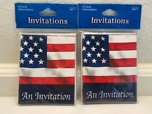 Set of 2 Packs, 8 Each American Flag Fourth of July Party Invitations