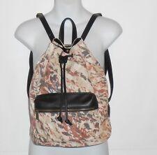 Icing Ladies Canvas & Faux Leather Drawstring Backpack Handbag Multi NWT