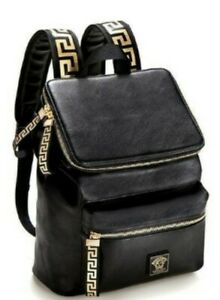 Versace parfums rucksack backpack black gold faux leather genuine ⭐BRAND NEW