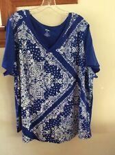 EVRI Womans 2X Knit Top Tee Shirt Blue Paisley Bandana Print