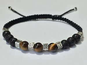 Men's Fashion Tiger Eye Lava Stone Black Braided Adjustable Shamballa Bracelet