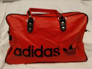 VINTAGE RARE ADIDAS LARGE RED & BLACK GYM DUFFEL BAG OLD SCHOOL TREFOIL LOGO