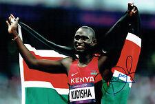 David Lekuta RUDISHA Autograph Signed Photo AFTAL COA Kenya Gold Medal Winner