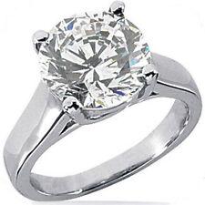 3 ct Round Brilliant Diamond Engagement Wedding 14k White Gold Ring, H SI2