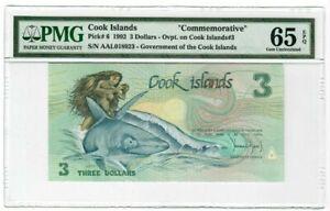 COOK ISLANDS 3 DOLLARS 1992 PMG 65 UNC P6 SHARK FISH COMMEMORATIVE