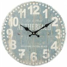 WALL CLOCK LIFE IS GOOD AT THE BEACH NAUTICAL DESIGN BLUE WHITE 34CM DIAMETER