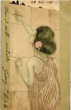 Raphael Kirchner Postcard - Girl Between Brown-Green Borders - K103