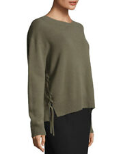 VINCE 100% CASHMERE Lace up PULLOVER WOMEN SWEATER  SMALL Olive Green