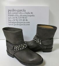 PEDRO GARCIA Kian Brown Fox Embellished Moto Boots Shoes Sz 37 NEW IN BOX $925