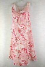 12P Liz & Co Pink Sleeveless 100% Cotton Lined Keyhole Tie Boho Floral Dress