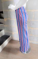 Pantalon VINTAGE années 60 rayures bleu blanc rouge T. XS comme BB