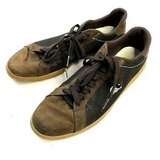 Lacoste Mens Size 11 Brown Canvas Leather Lace Up Casual Sneakers
