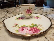 "ROYAL ALBERT ""AMERICAN BEAUTY"" HANDLED SNACK/TENNIS SET PRISTINE CONDITION #1"