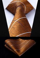 "Brown Check & Plaid 3.4"" Silk Tie Set Party Wedding Pocket Square New#TC811V8S"