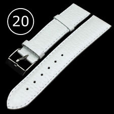 WHITE  Genuine Leather Watch Strap Band Mens Stainless Steel Buckle 20mm PITON