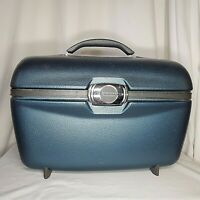 Vintage American Tourister Train Case Blue Keys Makeup Tray Mirror Swivel Latch