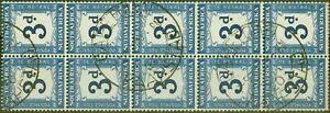 Südafrika 1942 3D Indigo & Milchig Blau SGD28w Wmk Upright V. f.U Block Of