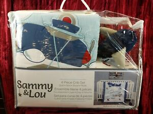 NEW Sammy & Lou Adventure Awaits Vintage Airplane Theme Nursery 4 Piece Baby Boy
