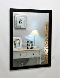 Black Wood Frame Wall Mirror Modern Simple Design 60x42cm Home Bathroom Bedroom