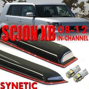 2008-2012 Scion xB Smoke-Light Blue Window Vent Visors In-Channel 3M tape