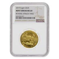 2019 1/2 oz $25 Gold American Eagle NGC MS 69 Mint Error (Rev Struck Thru)